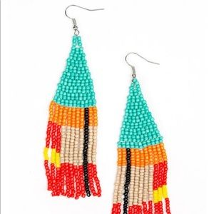 Beaded Boho - Blue Earrings